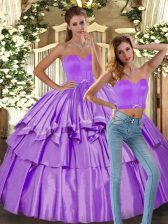 Ruffled Layers Sweet 16 Quinceanera Dress Lilac Backless Sleeveless Floor Length