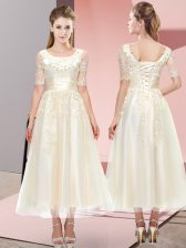 Exceptional Champagne Dama Dress Wedding Party with Beading and Lace Scoop Short Sleeves Lace Up