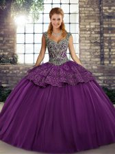 Fantastic Purple Lace Up Quinceanera Gown Beading and Appliques Sleeveless Floor Length