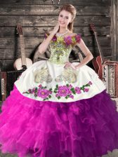 Modern White And Purple Ball Gowns Organza Off The Shoulder Sleeveless Embroidery and Ruffles Floor Length Lace Up 15th Birthday Dress