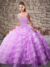 Lilac Ball Gowns Straps Sleeveless Organza Floor Length Lace Up Beading and Ruffled Layers Quinceanera Gowns