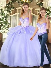 Lavender Sleeveless Organza Lace Up Quinceanera Gowns for Sweet 16 and Quinceanera