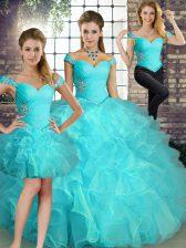 Off The Shoulder Sleeveless Sweet 16 Quinceanera Dress Floor Length Beading and Ruffles Aqua Blue Organza