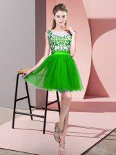Fine Green Zipper Dama Dress Lace Sleeveless Mini Length