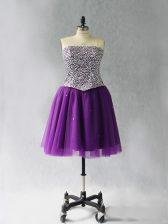 Modest Purple Sleeveless Mini Length Beading Lace Up