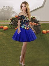 Enchanting Sleeveless Mini Length Embroidery Lace Up Dress for Prom with Royal Blue