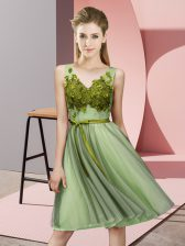 Inexpensive Yellow Green Sleeveless Tulle Lace Up Dama Dress for Quinceanera for Wedding Party
