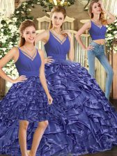 Edgy Lavender Quinceanera Gown Sweet 16 and Quinceanera with Ruffles V-neck Sleeveless Brush Train Backless