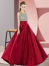 Scoop Sleeveless Backless Prom Dresses Wine Red Elastic Woven Satin