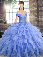 Luxurious Sleeveless Brush Train Beading and Ruffles Lace Up Quinceanera Gowns