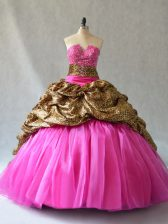 Low Price Sleeveless Beading and Pick Ups Lace Up Sweet 16 Dresses with Hot Pink Brush Train