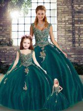 Admirable Peacock Green Sleeveless Floor Length Beading and Appliques Lace Up Sweet 16 Dress