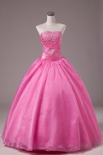 Floor Length Rose Pink Sweet 16 Dresses Organza Sleeveless Embroidery