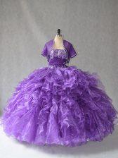 Purple Ball Gowns Beading and Ruffles 15th Birthday Dress Lace Up Taffeta Sleeveless Floor Length