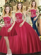 Smart Red Sleeveless Beading Floor Length Quince Ball Gowns