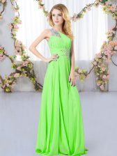 Suitable Sleeveless Floor Length Beading Zipper Vestidos de Damas with
