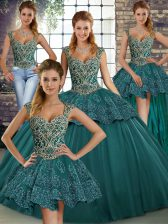 New Style Green Ball Gowns Straps Sleeveless Tulle Floor Length Lace Up Beading and Appliques Vestidos de Quinceanera