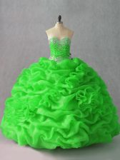 Elegant Vestidos de Quinceanera Sweet 16 and Quinceanera with Beading and Hand Made Flower Sweetheart Sleeveless Lace Up