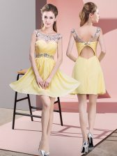 Yellow Homecoming Dress Prom and Party and Military Ball with Beading and Ruching Scoop Sleeveless Backless