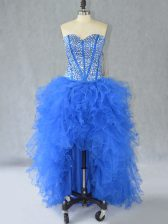 Extravagant Blue Prom Dresses Prom and Party with Beading and Ruffles Sweetheart Sleeveless Lace Up