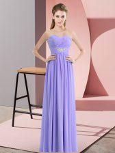 Decent Floor Length Empire Sleeveless Lavender Prom Gown Zipper