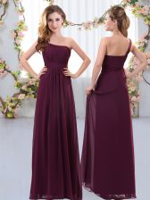 Burgundy Zipper One Shoulder Ruching Court Dresses for Sweet 16 Chiffon Sleeveless