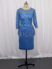 Latest Blue Column/Sheath Scoop Long Sleeves Satin Mini Length Zipper Lace and Appliques