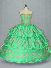 Elegant Floor Length Ball Gowns Sleeveless Green 15th Birthday Dress Lace Up
