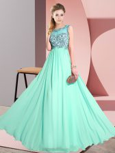 High End Apple Green Chiffon Backless Damas Dress Sleeveless Floor Length Beading and Appliques