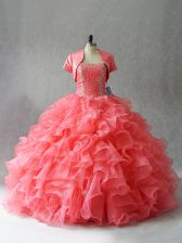 Custom Design Floor Length Ball Gowns Sleeveless Watermelon Red Sweet 16 Quinceanera Dress Lace Up