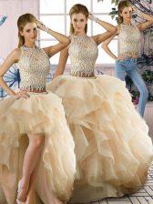 On Sale Champagne Scoop Neckline Beading and Ruffles Sweet 16 Dress Sleeveless Zipper