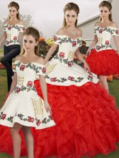 Organza Off The Shoulder Sleeveless Lace Up Embroidery and Ruffles Vestidos de Quinceanera in White And Red