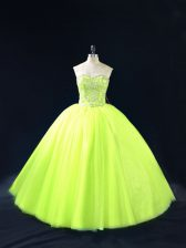 Most Popular Sweetheart Sleeveless Quinceanera Gown Floor Length Beading Yellow Green Tulle