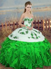 Modest Green Organza Lace Up Quinceanera Dresses Sleeveless Floor Length Embroidery and Ruffles and Bowknot