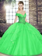 Luxurious Green Ball Gown Prom Dress Military Ball and Sweet 16 and Quinceanera with Beading and Ruffles Off The Shoulder Sleeveless Lace Up