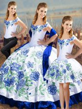 Blue And White Satin Lace Up 15 Quinceanera Dress Sleeveless Floor Length Embroidery and Ruffles