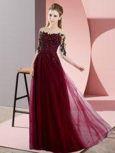 Designer Floor Length Burgundy Vestidos de Damas Bateau Half Sleeves Lace Up
