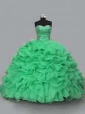 Unique Green Sleeveless Beading and Ruffles Floor Length Quince Ball Gowns