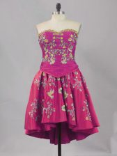 Mini Length Fuchsia Homecoming Dress Sweetheart Sleeveless Lace Up