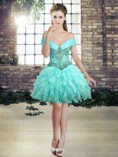 Aqua Blue Organza Lace Up Dress for Prom Sleeveless Mini Length Beading and Ruffles