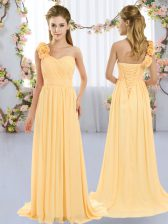 Fine Gold One Shoulder Neckline Hand Made Flower Vestidos de Damas Sleeveless Lace Up