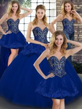 Affordable Royal Blue Lace Up Sweetheart Beading and Appliques Quinceanera Dress Tulle Sleeveless