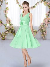 Apple Green Empire V-neck Sleeveless Chiffon Knee Length Lace Up Hand Made Flower Dama Dress for Quinceanera