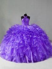 Lavender Ball Gowns Beading and Ruffles 15th Birthday Dress Zipper Organza Sleeveless