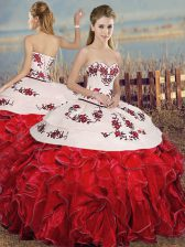 White And Red Sleeveless Embroidery and Ruffles Floor Length 15 Quinceanera Dress