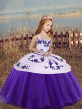Custom Fit Organza Straps Sleeveless Lace Up Embroidery Pageant Gowns For Girls in Eggplant Purple and Purple