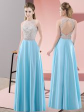 Beading Prom Evening Gown Baby Blue Backless Sleeveless Floor Length