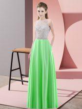 Floor Length Empire Sleeveless Green Prom Dress Backless