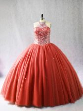 Decent Sleeveless Tulle Brush Train Lace Up Vestidos de Quinceanera in Red with Beading