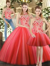 Red Halter Top Lace Up Embroidery Quinceanera Gowns Sleeveless